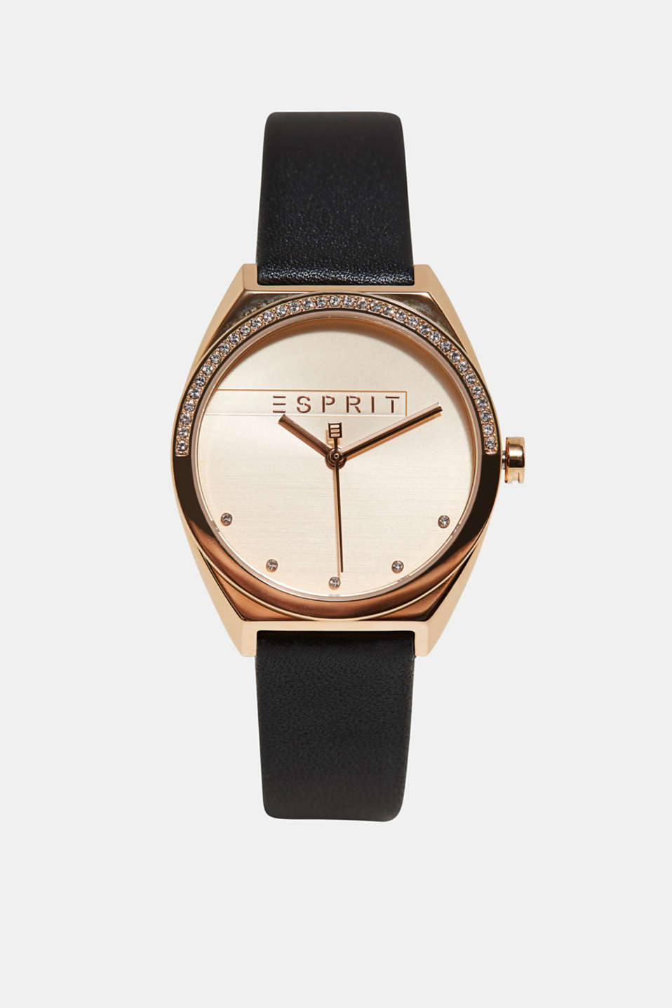 Esprit - Stainless steel watch with a leather look and zirconia