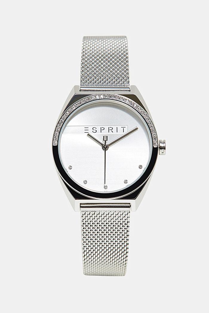 Edelstahl-Uhr mit Zirkonia-Besatz, SILVER, detail image number 0