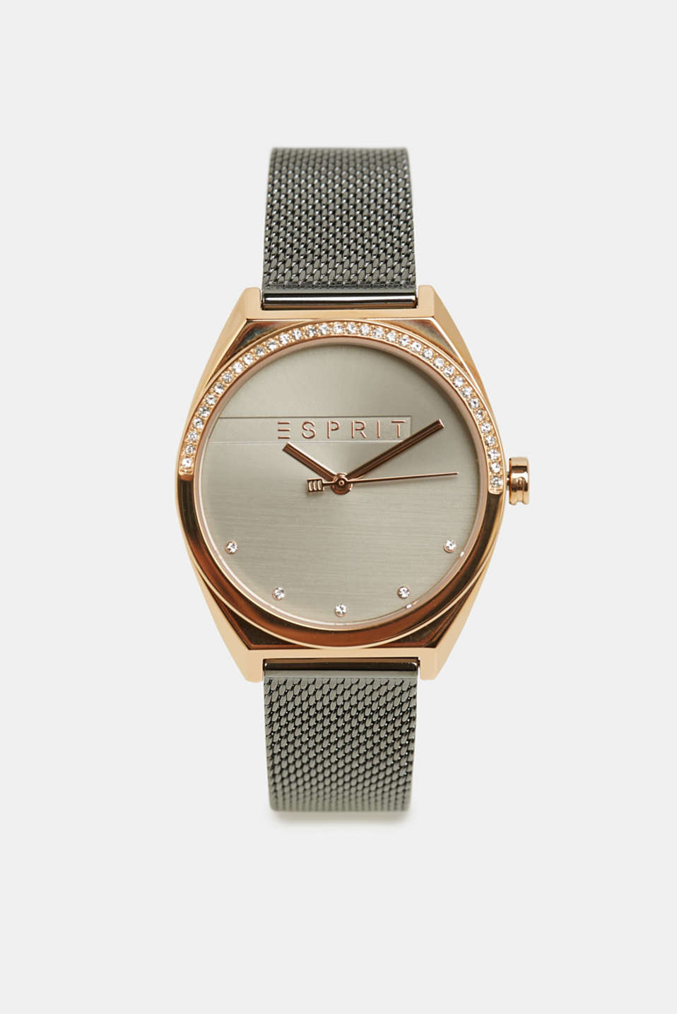 Stainless steel watch with zirconia, GREY, detail image number 0