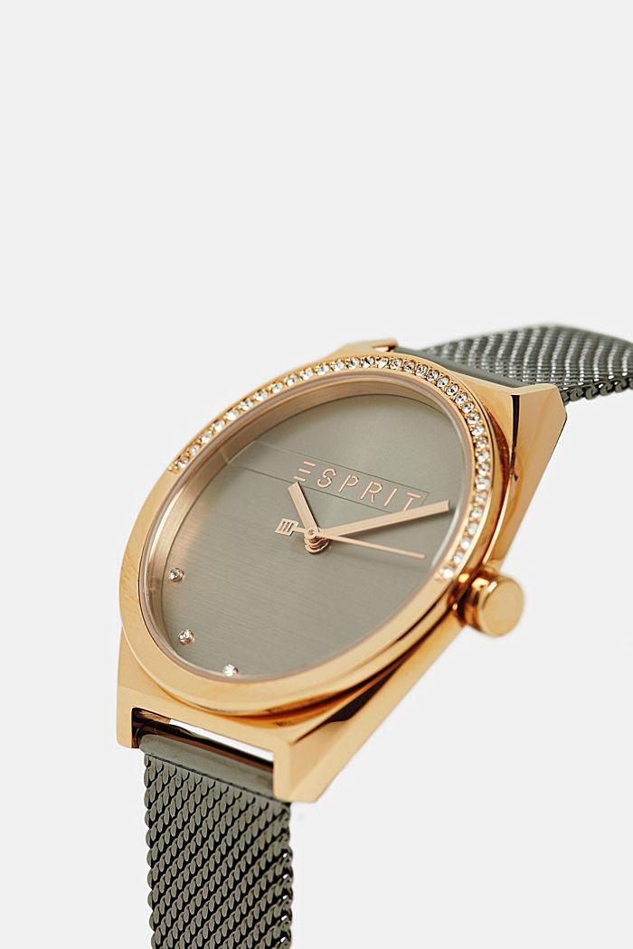 Edelstahl-Uhr mit Zirkonia-Besatz, SILVER, detail image number 1