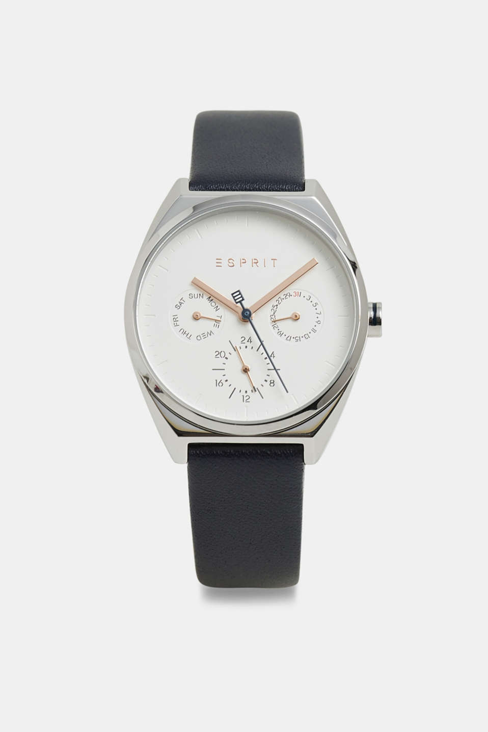 Stainless-steel watch with a leather strap, BLUE, detail image number 0