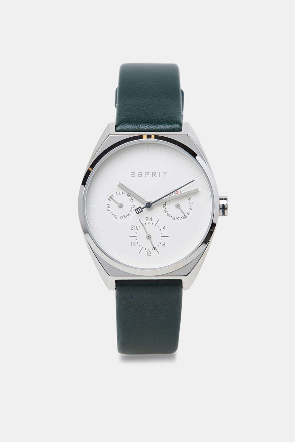 Stainless-steel watch with a leather strap, GREEN, detail image number 0