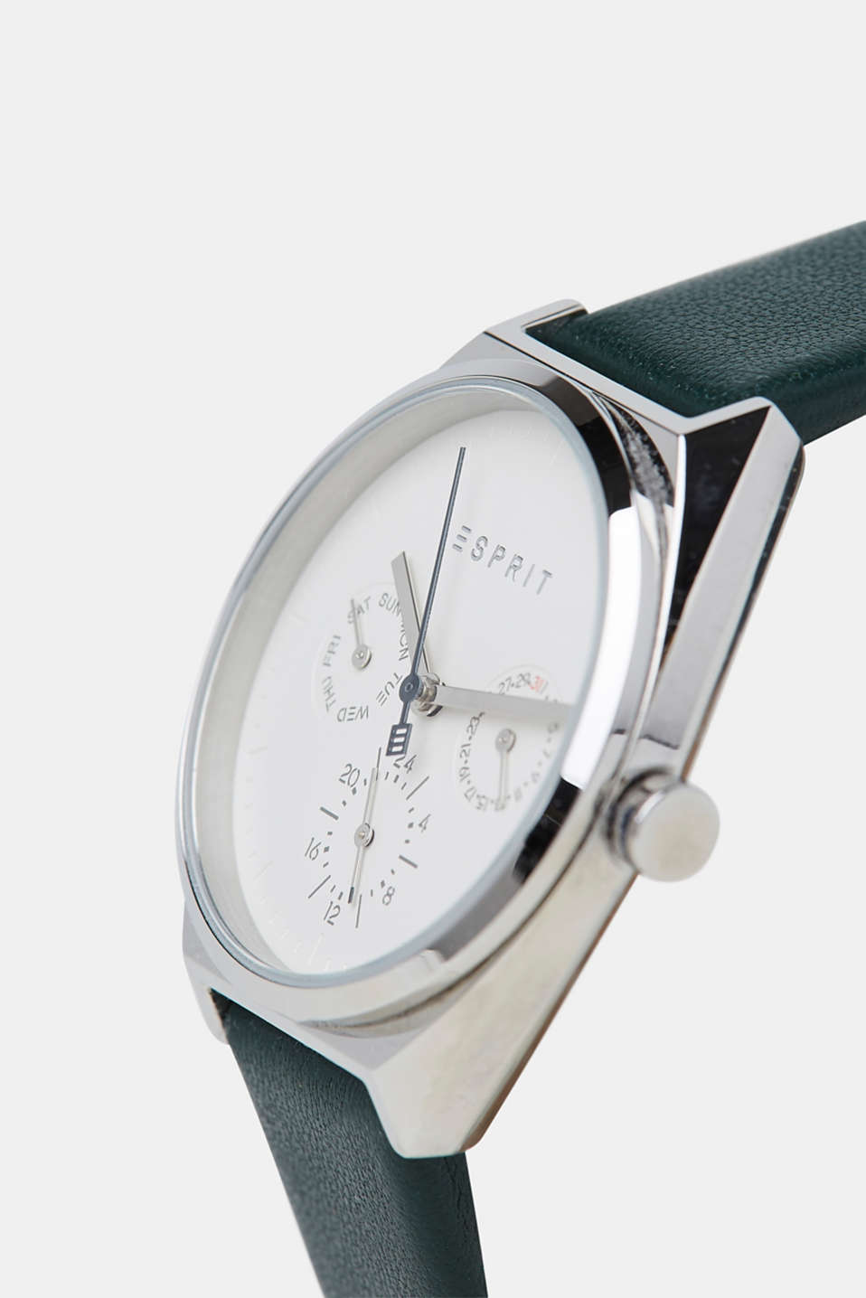 Stainless-steel watch with a leather strap, GREEN, detail image number 1