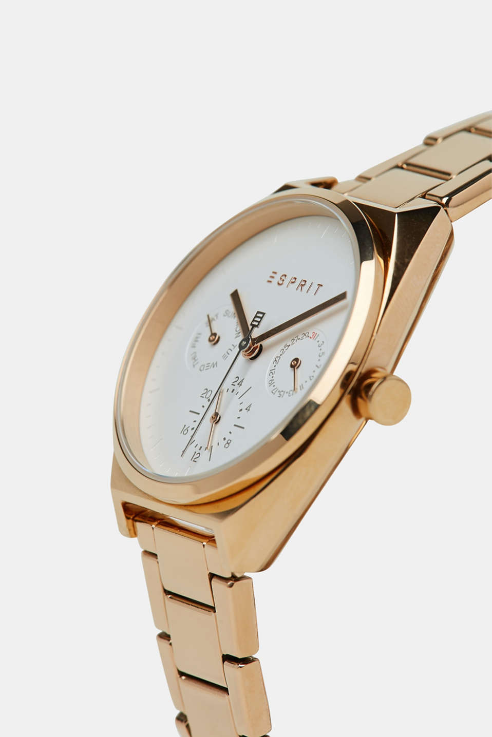 Stainless-steel watch with pink plating, ROSEGOLD, detail image number 1