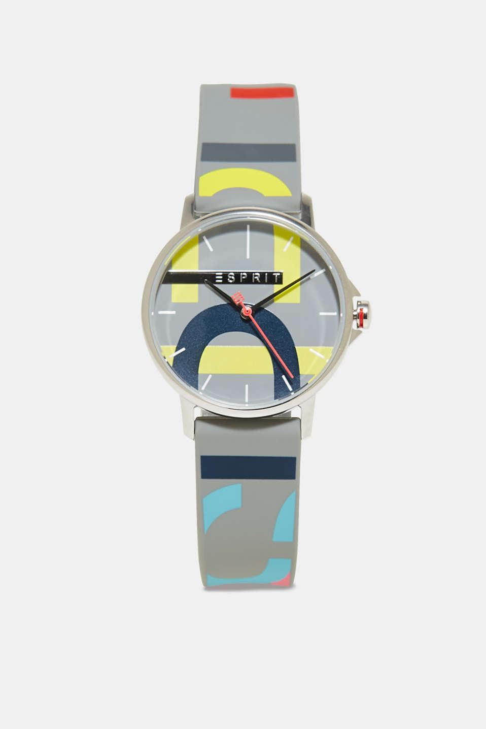 Esprit - Stainless steel watch with a logo and rubber strap