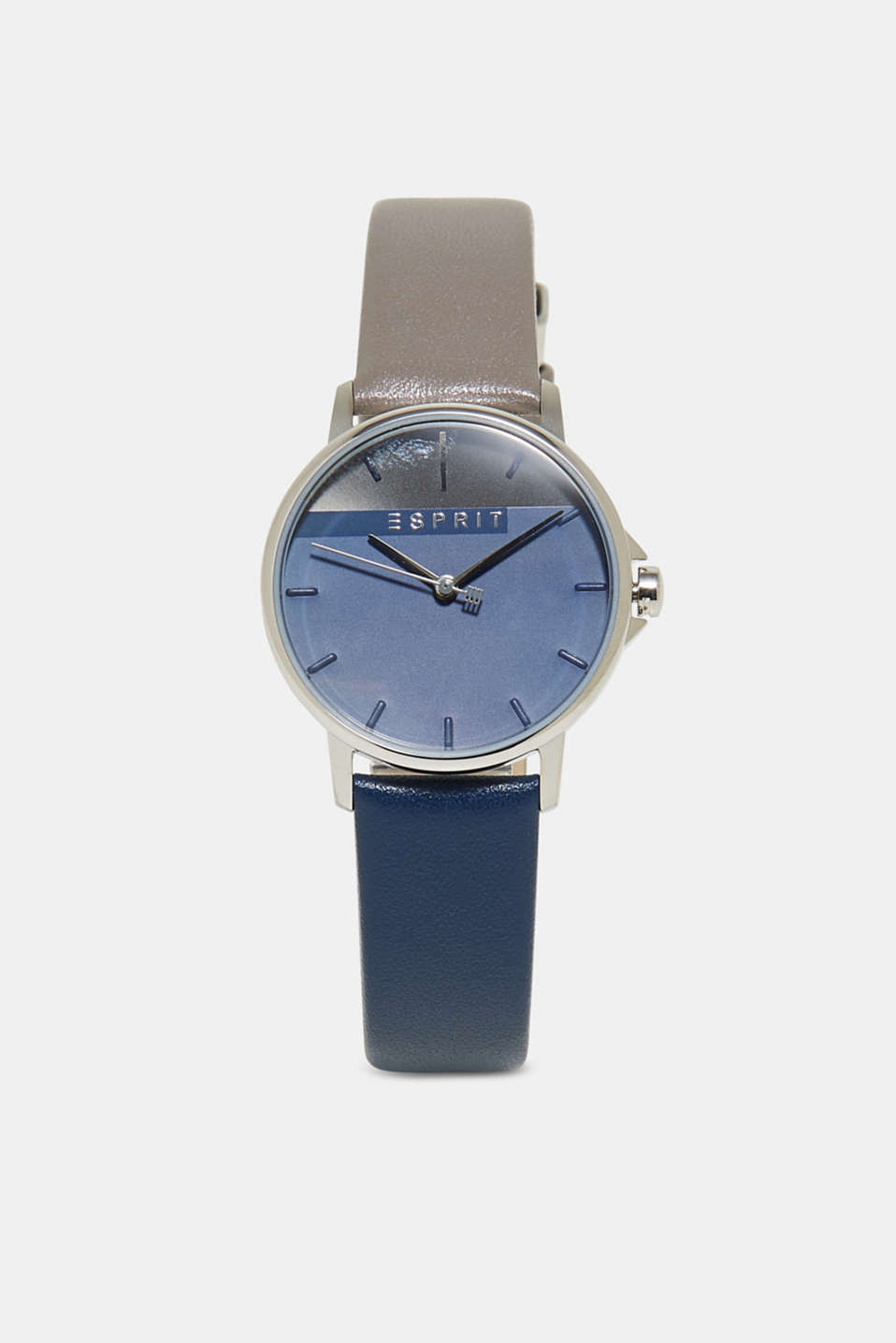 Esprit - Colour block watch with a leather strap