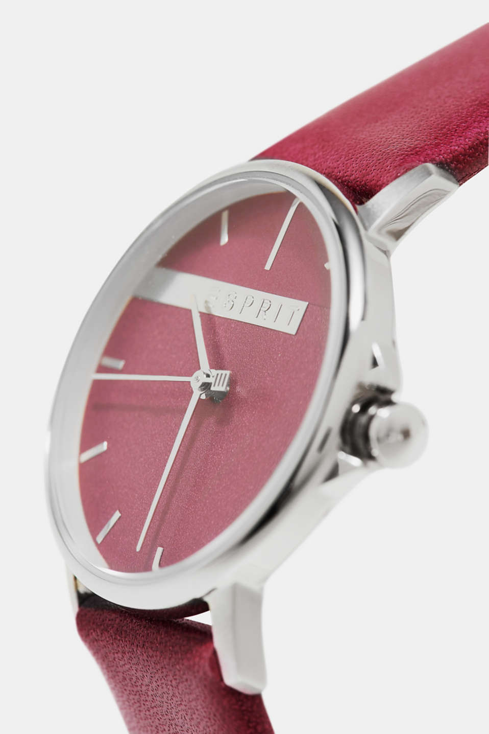 Stainless steel watch with a leather strap