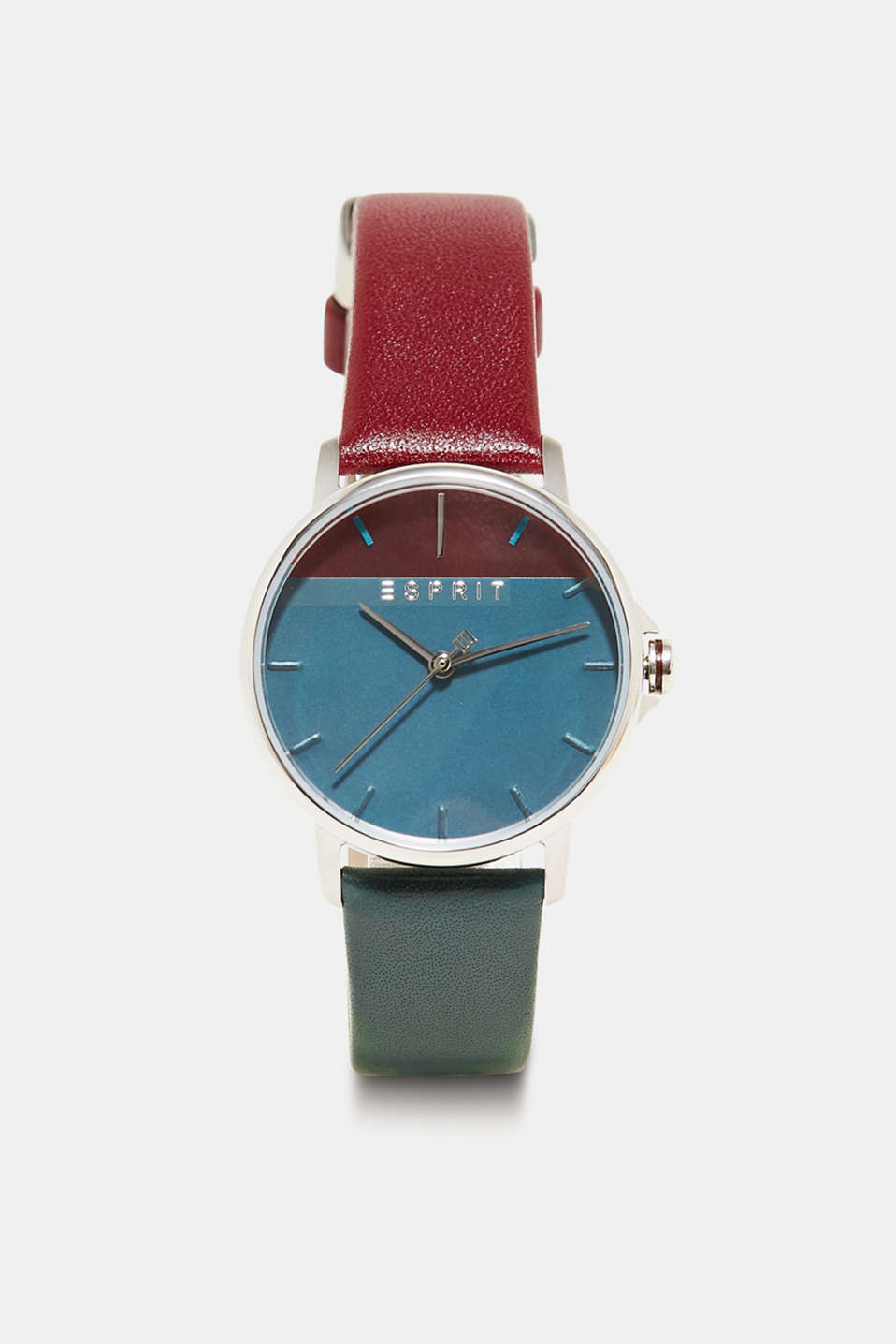 Esprit - Stainless-steel watch with a two-tone leather strap