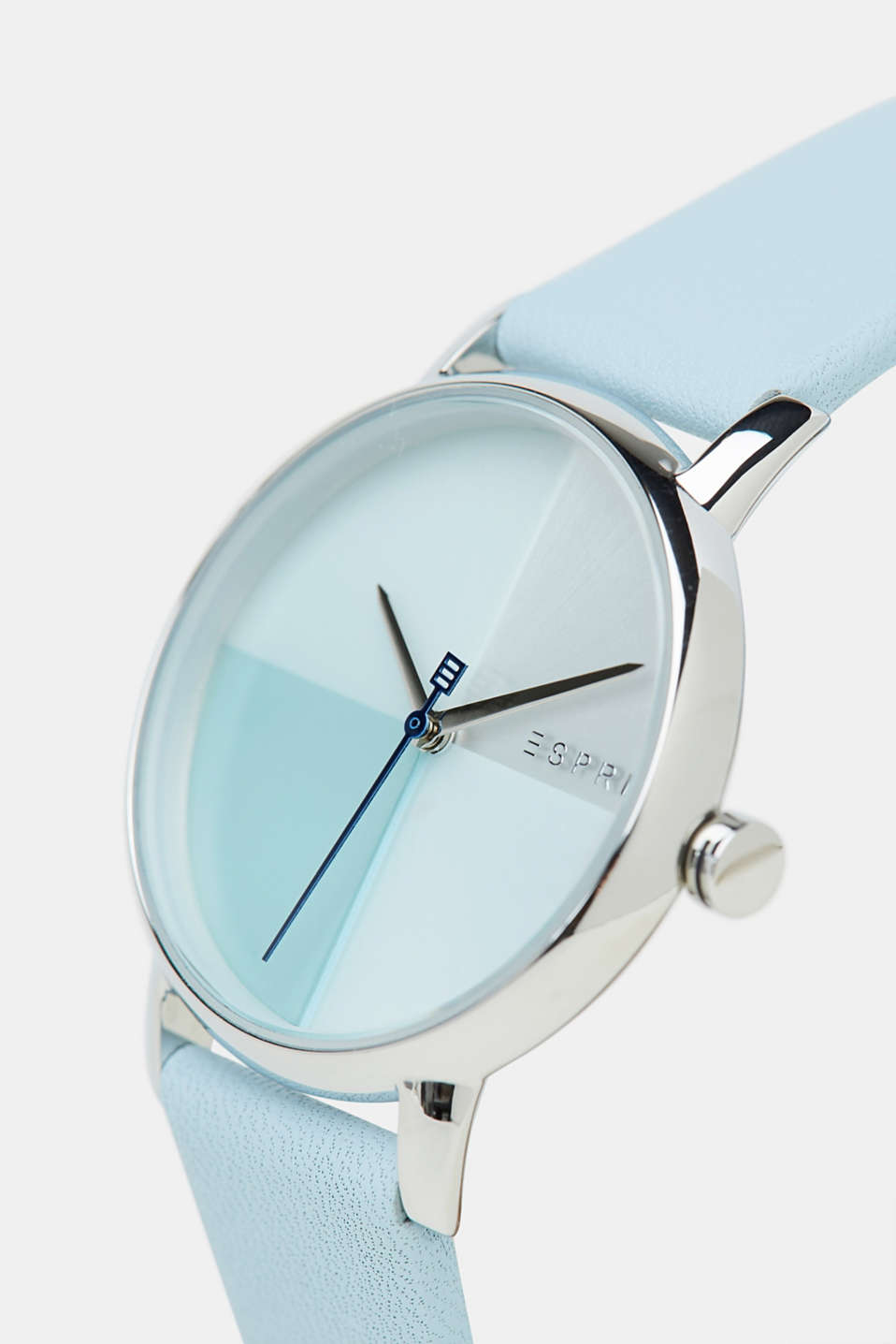 Stainless-steel watch with a leather strap, BLUE, detail image number 1