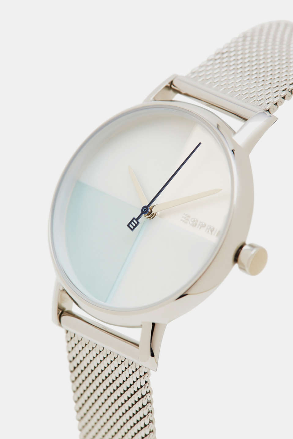 Stainless steel watch with a mesh strap, SILVER, detail image number 1