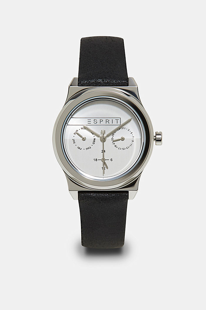 Stainless-steel watch with a date display, BLACK, detail image number 0