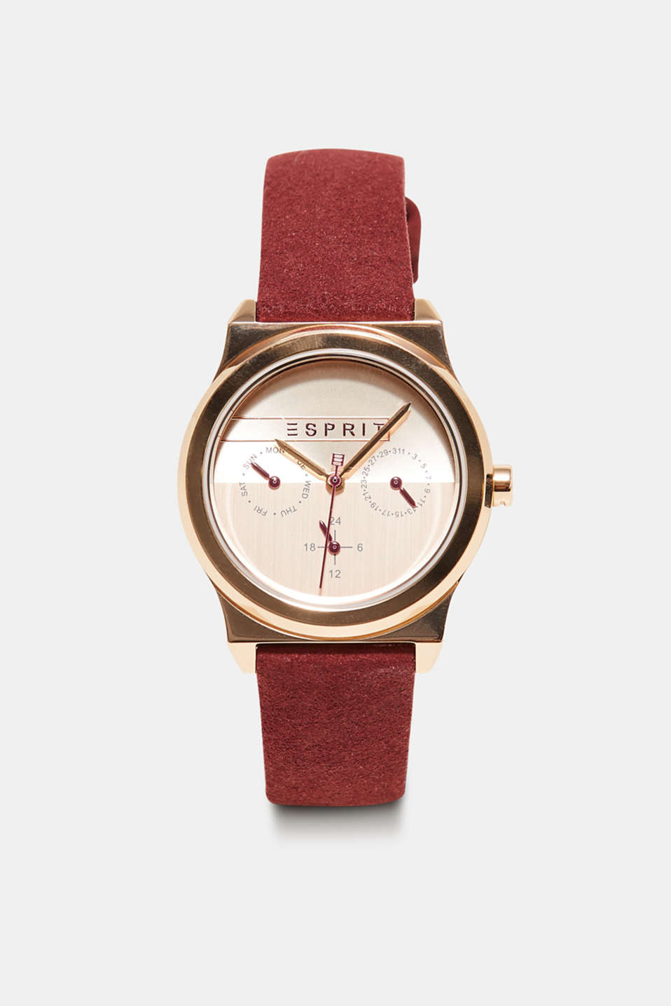 Esprit - Stainless-steel watch with a suede strap
