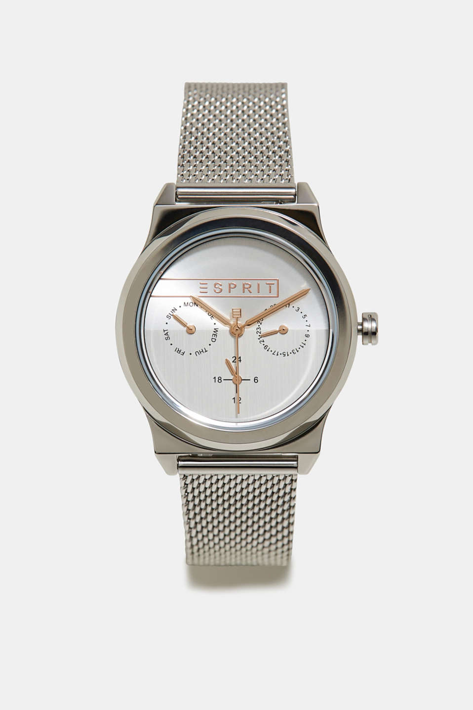Stainless-steel watch with a date display, SILVER, detail image number 0