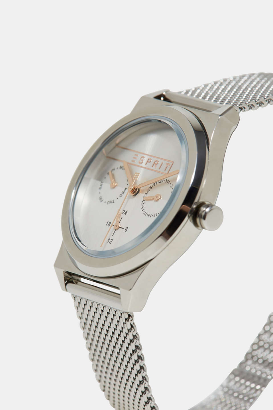 Stainless-steel watch with a date display, SILVER, detail image number 1