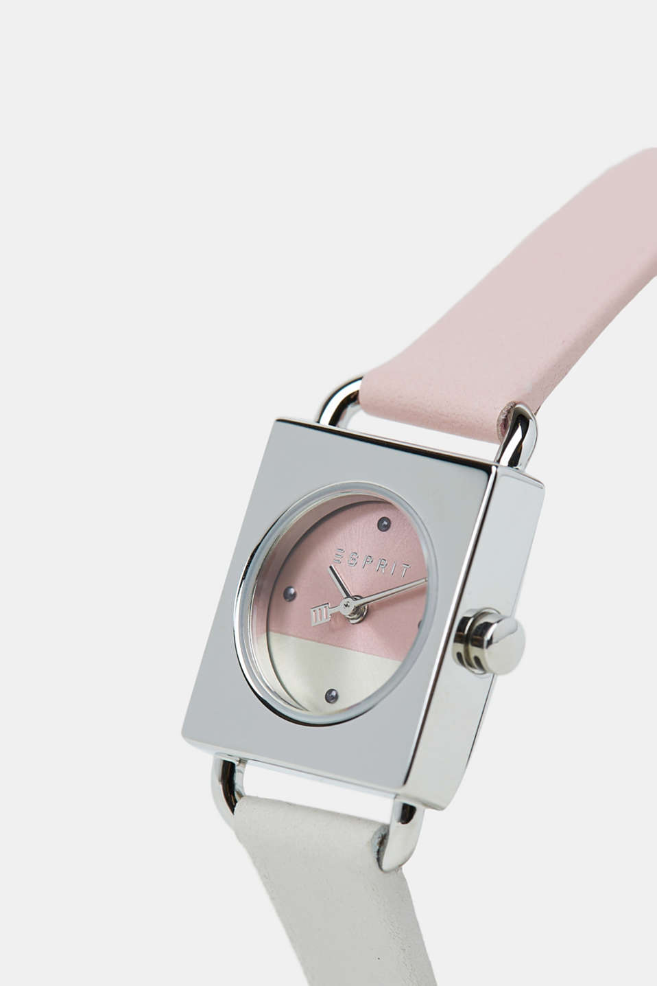 Stainless-steel watch with a leather strap, ROSE, detail image number 1