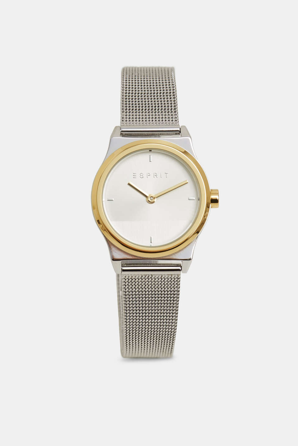 Stainless steel watch with a mesh strap, SILVER, detail image number 0