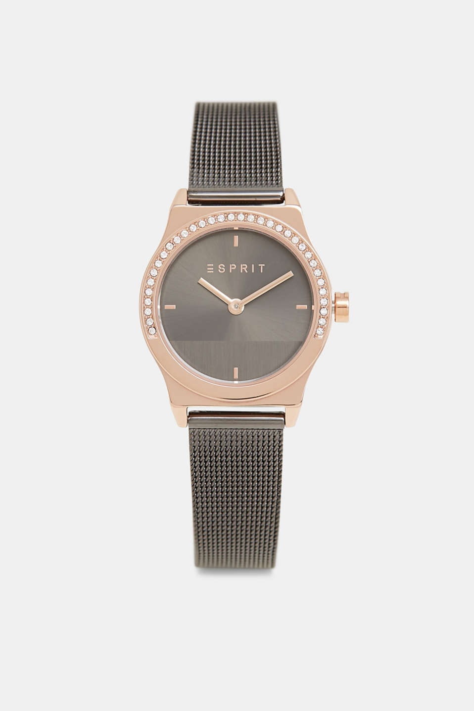 Bi-colour watch with a mesh strap and zirconia trim, GREY, detail image number 0