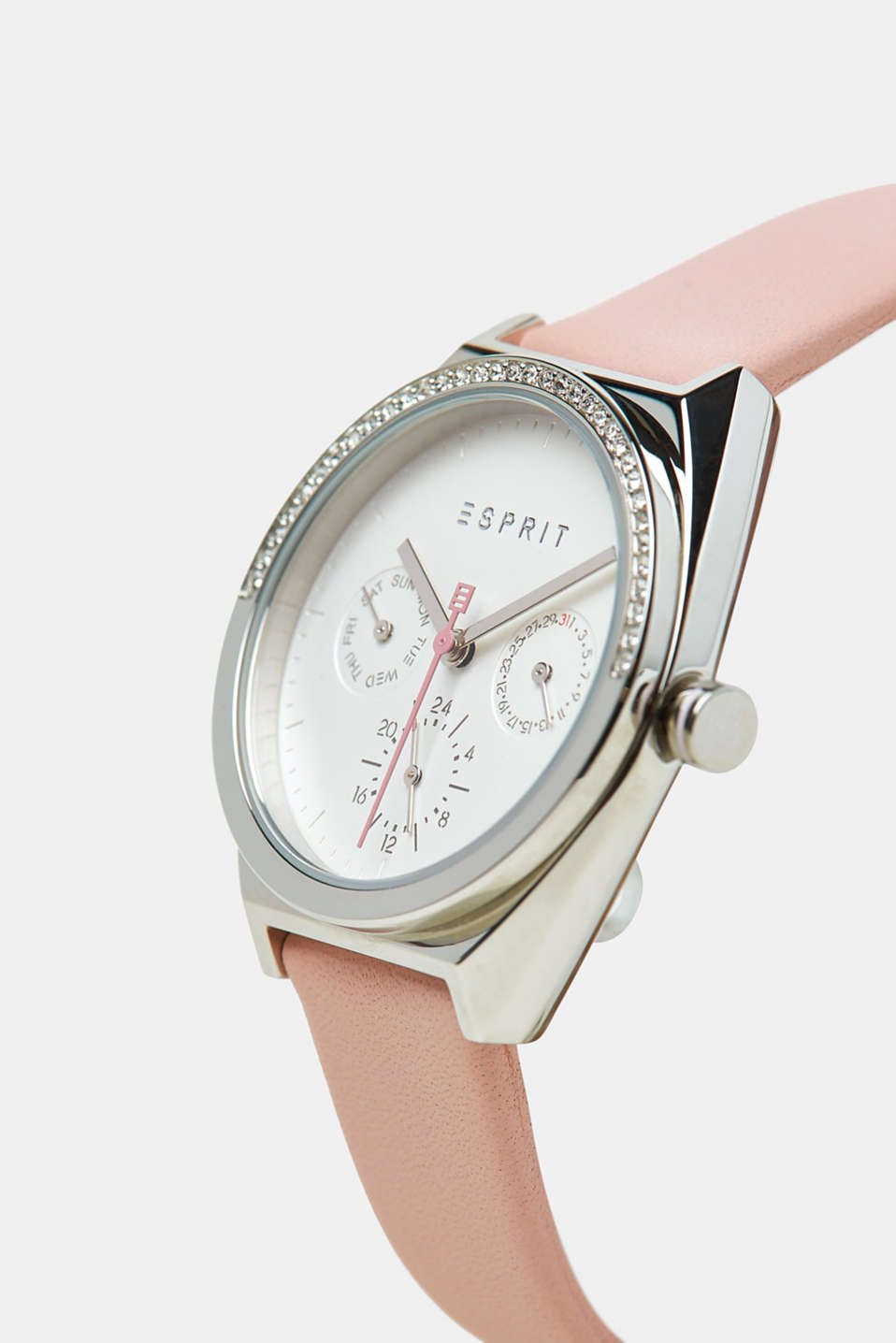 Stainless steel watch with zirconia, PINK, detail image number 1