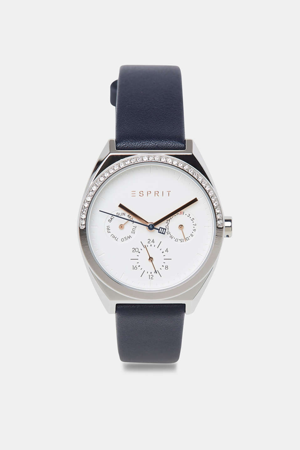 Esprit - Zirconia-trim stainless-steel watch with a date display