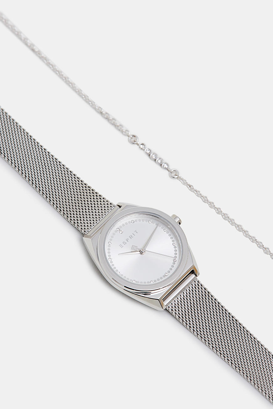 Bracelet and watch set, in stainless steel