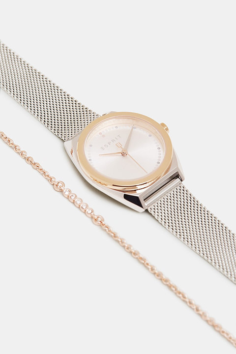 Watch and bracelet set, in stainless steel