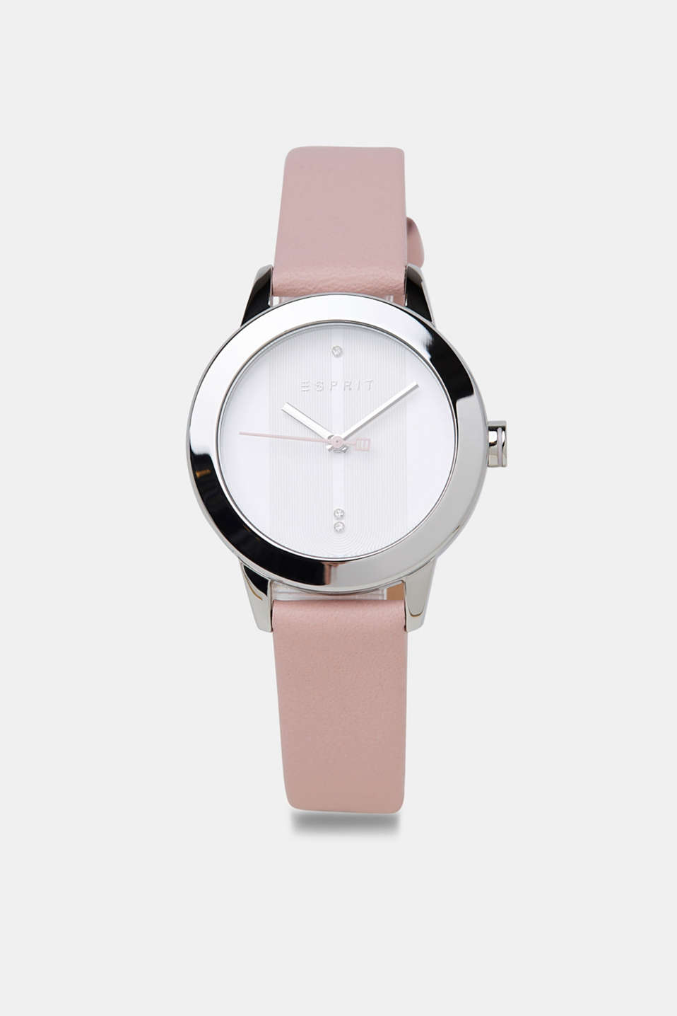Stainless-steel watch with a leather strap, PINK, detail image number 0