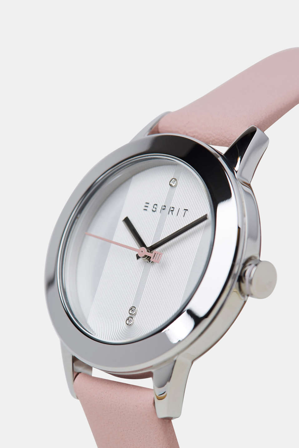 Stainless-steel watch with a leather strap, PINK, detail image number 1