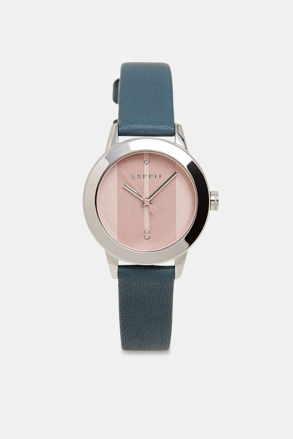 Esprit - Stainless steel watch with zirconia and leather strap