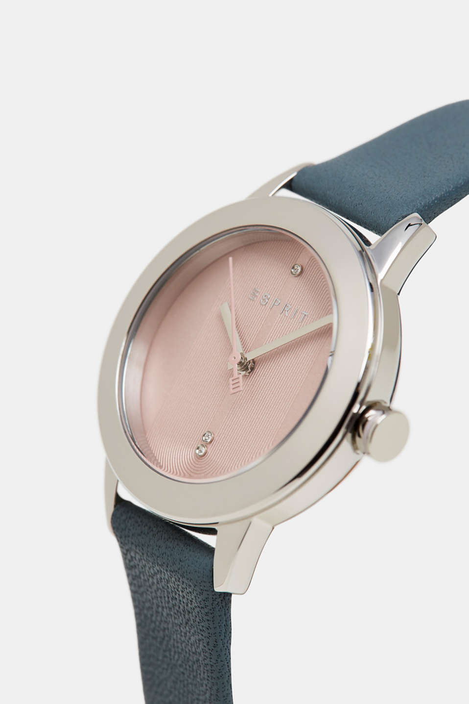 Stainless steel watch with zirconia and leather strap, BLUE, detail image number 1