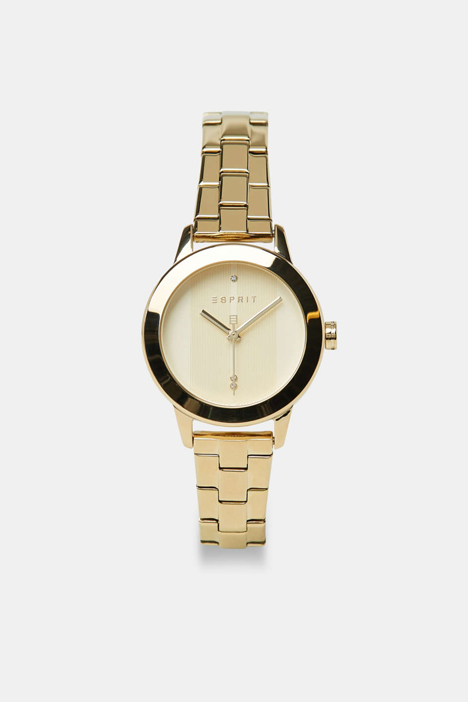 Stainless-steel watch with gold-coloured plating, GOLD, detail image number 0