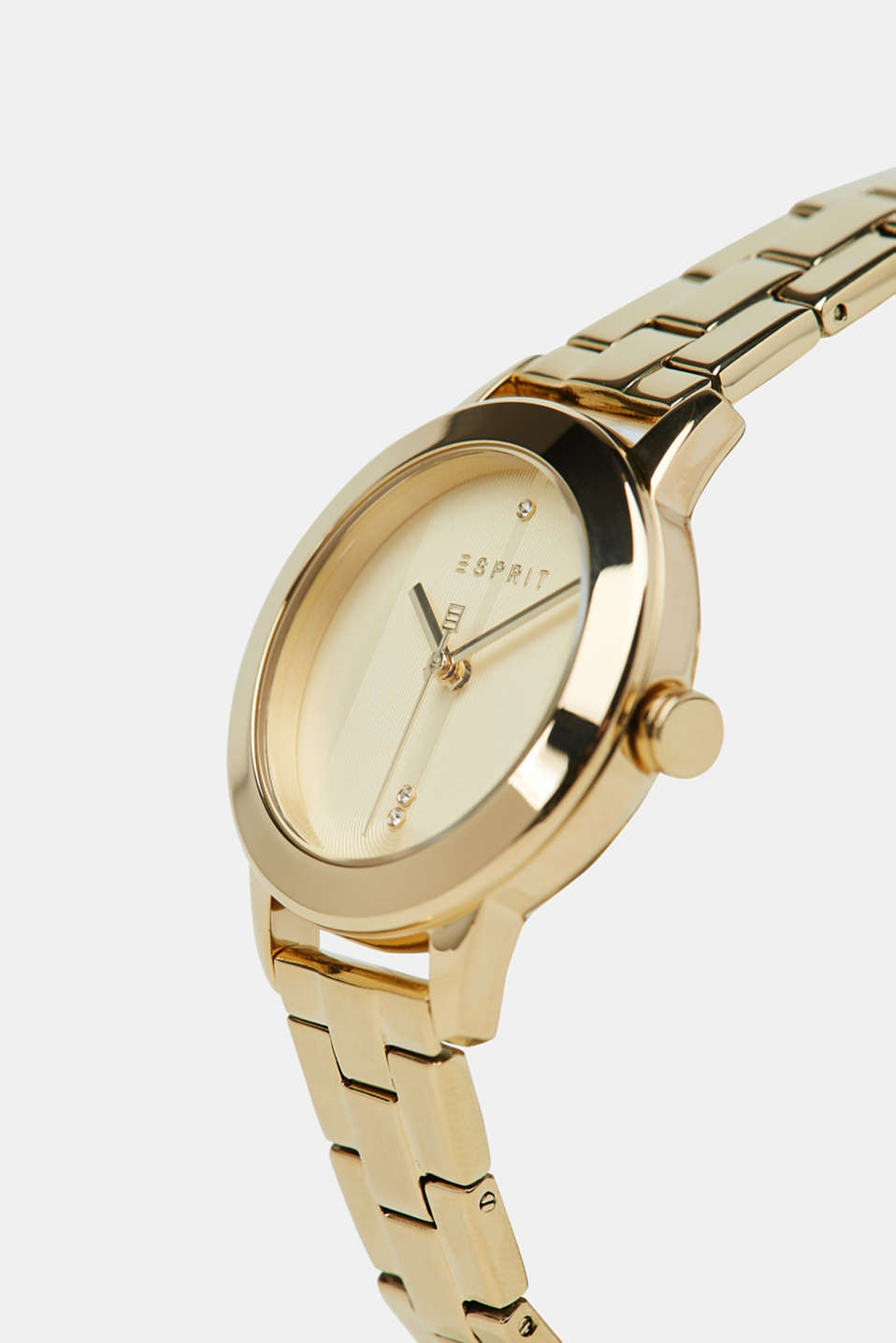 Stainless-steel watch with gold-coloured plating, GOLD, detail image number 1