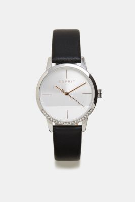 Stainless-steel watch with zirconia and leather strap, BLACK, detail