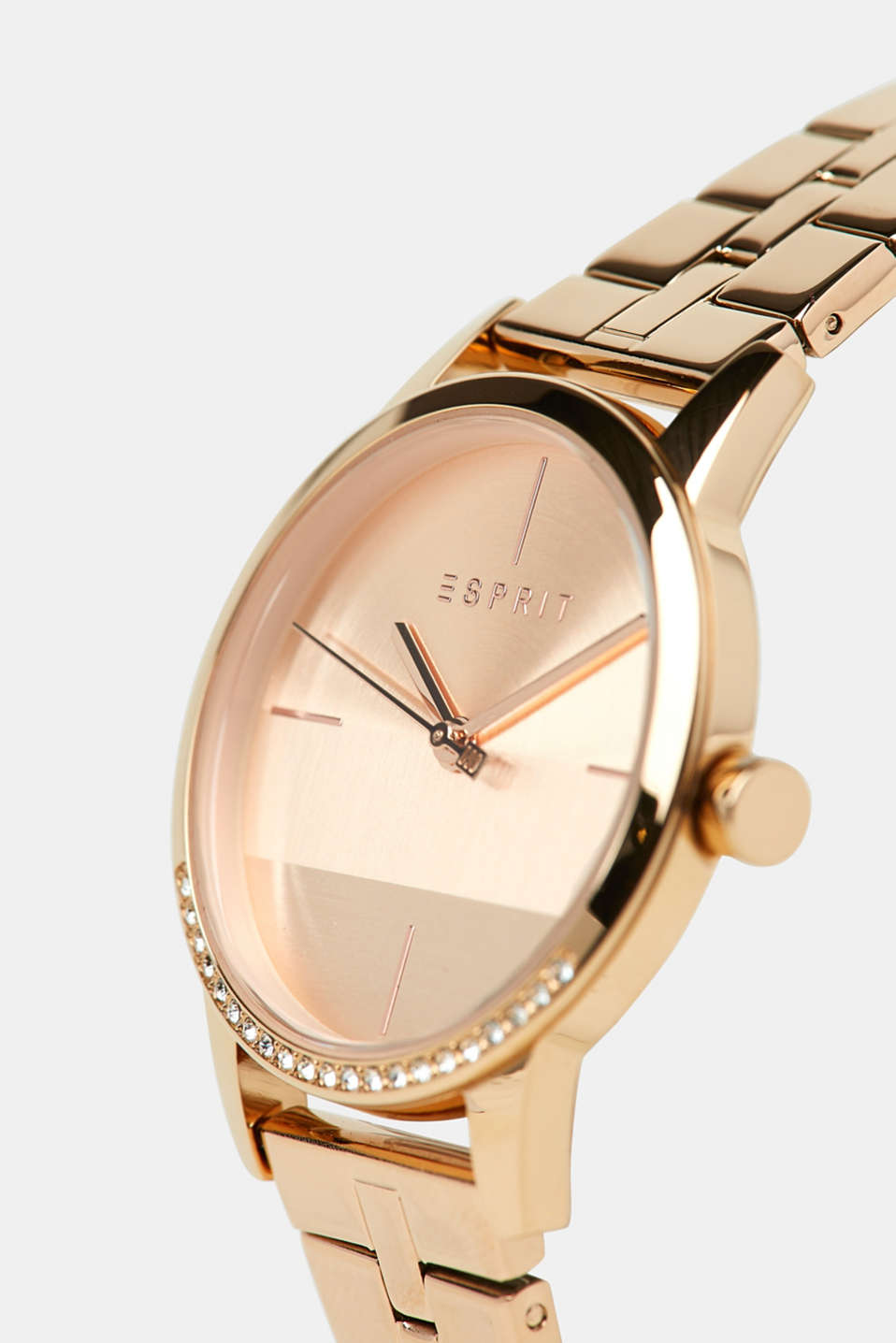 Stainless-steel watch with a link bracelet, ROSEGOLD, detail image number 1