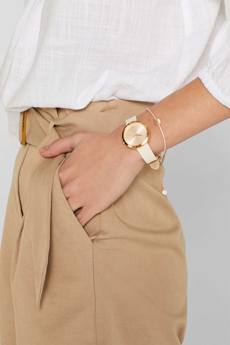 Set comprising watch and bracelet, stainless steel, BEIGE, detail image number 2