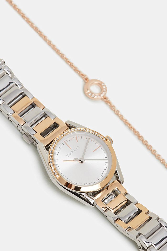 Set van horloge en armband met zirkoniasteentjes