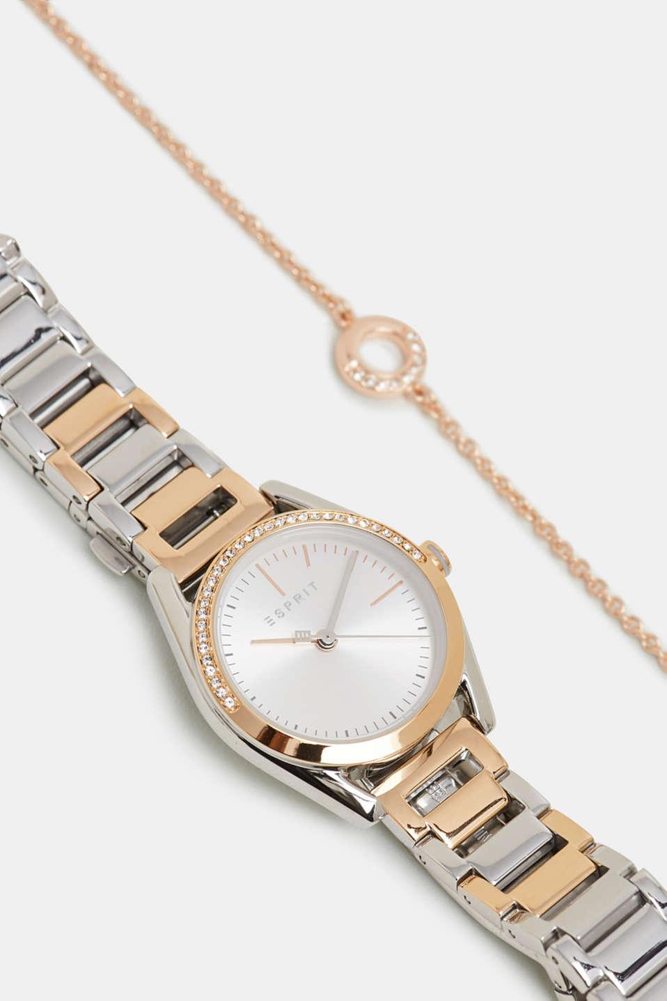 Watch and zirconia-trimmed bracelet set, ROSEGOLD, detail image number 0