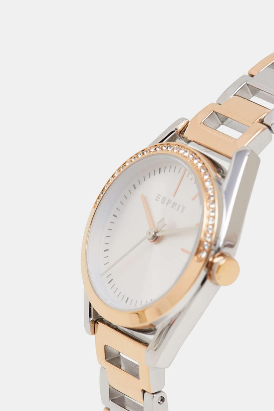 Watch and zirconia-trimmed bracelet set, ROSEGOLD, detail image number 1