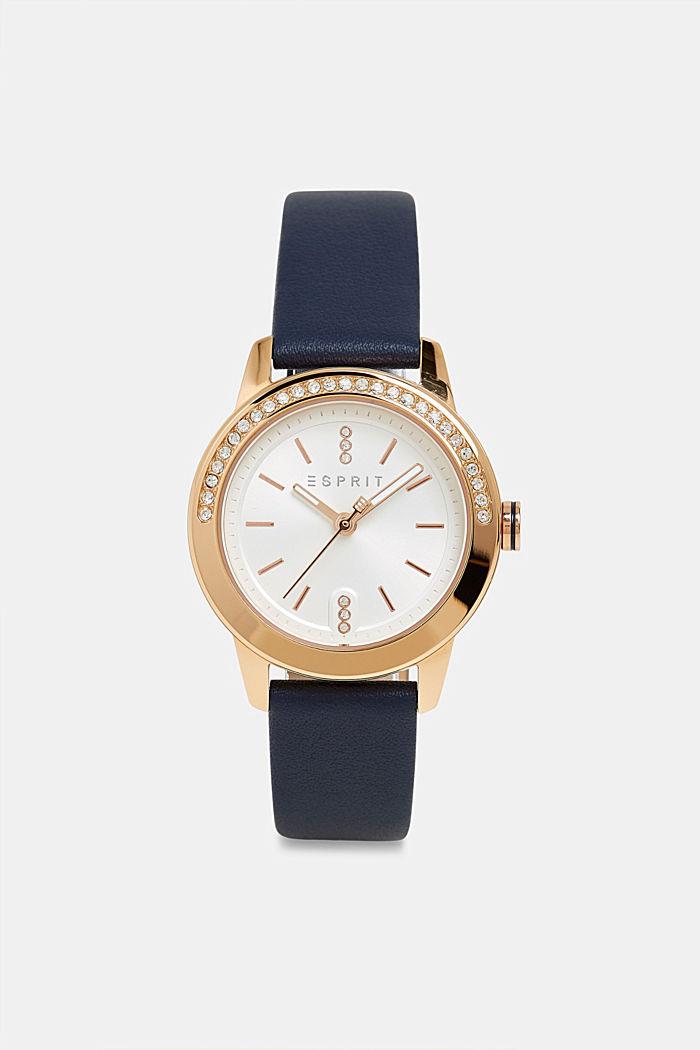 Edelstahl-Uhr mit Zirkonia-Besatz