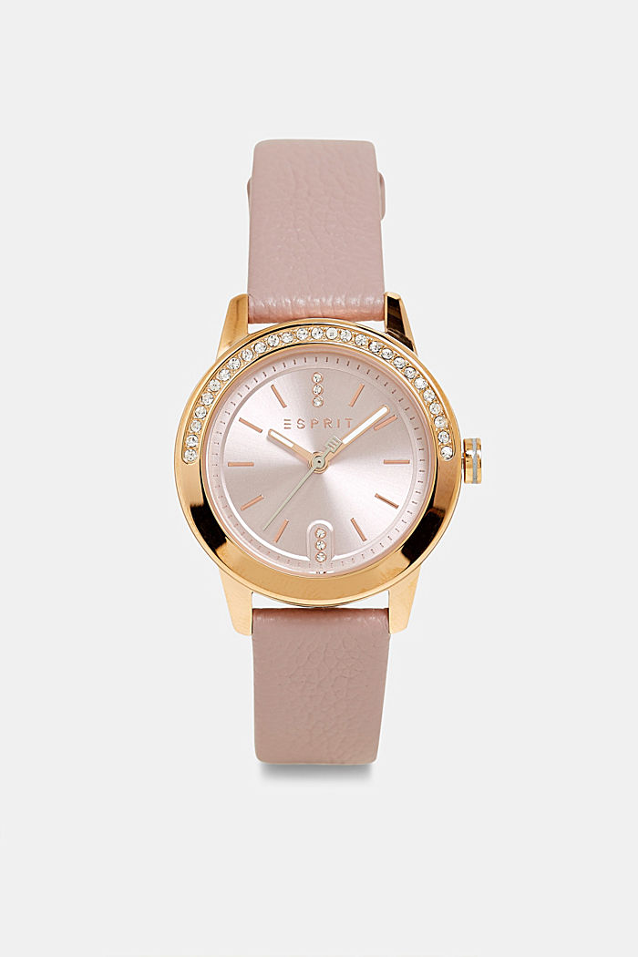 Stainless steel watch with zirconia, PINK, detail image number 0