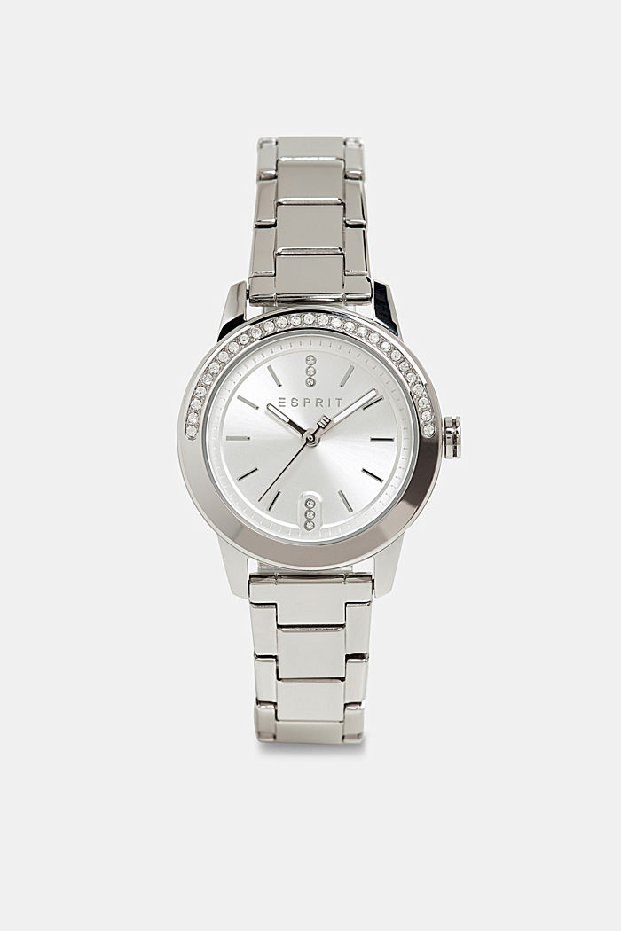 Gemstone watch with zirconia, SILVER, detail image number 0
