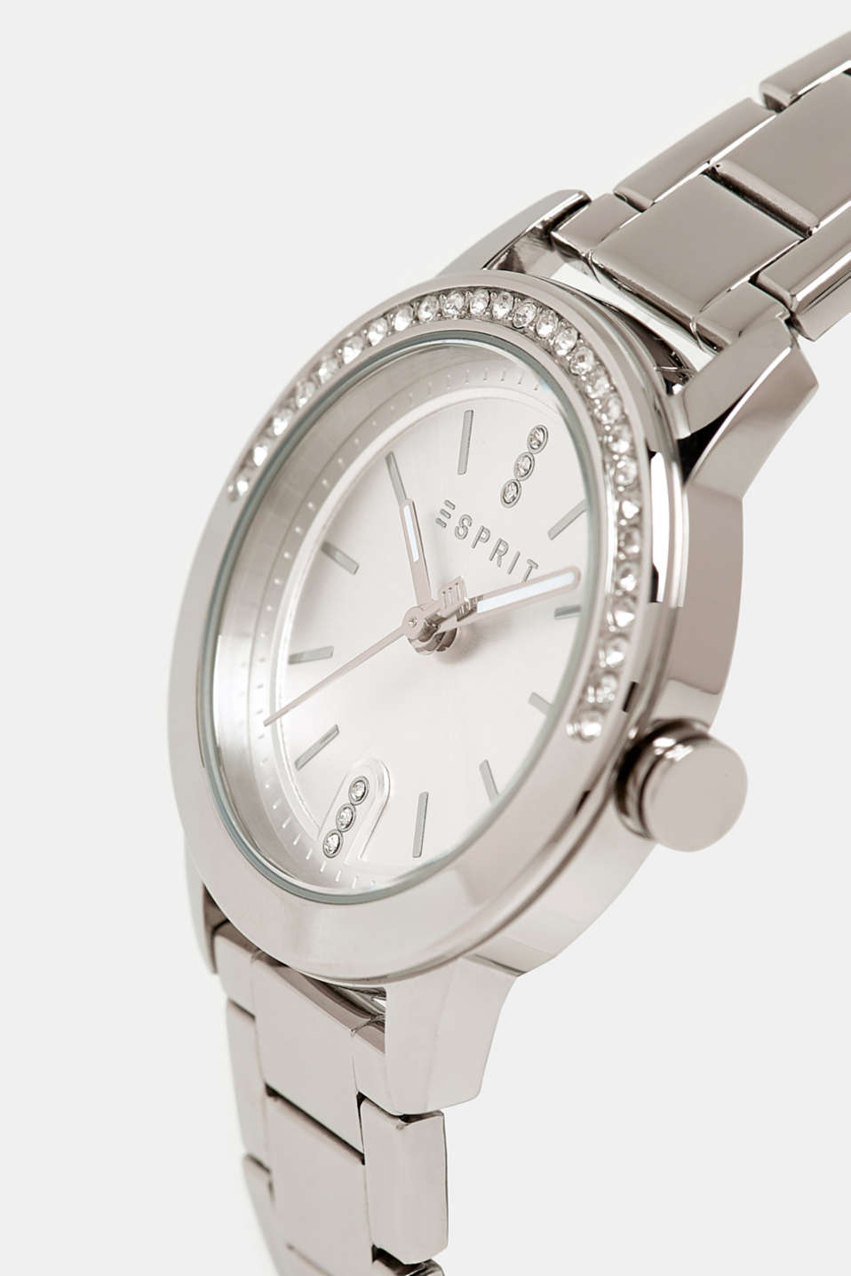Gemstone watch with zirconia, SILVER, detail image number 1