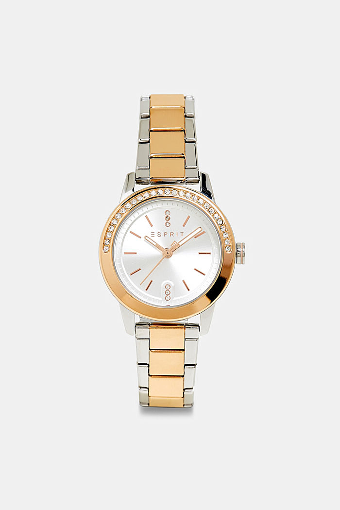 Reloj de acero inoxidable con circonita, GOLD, detail image number 0