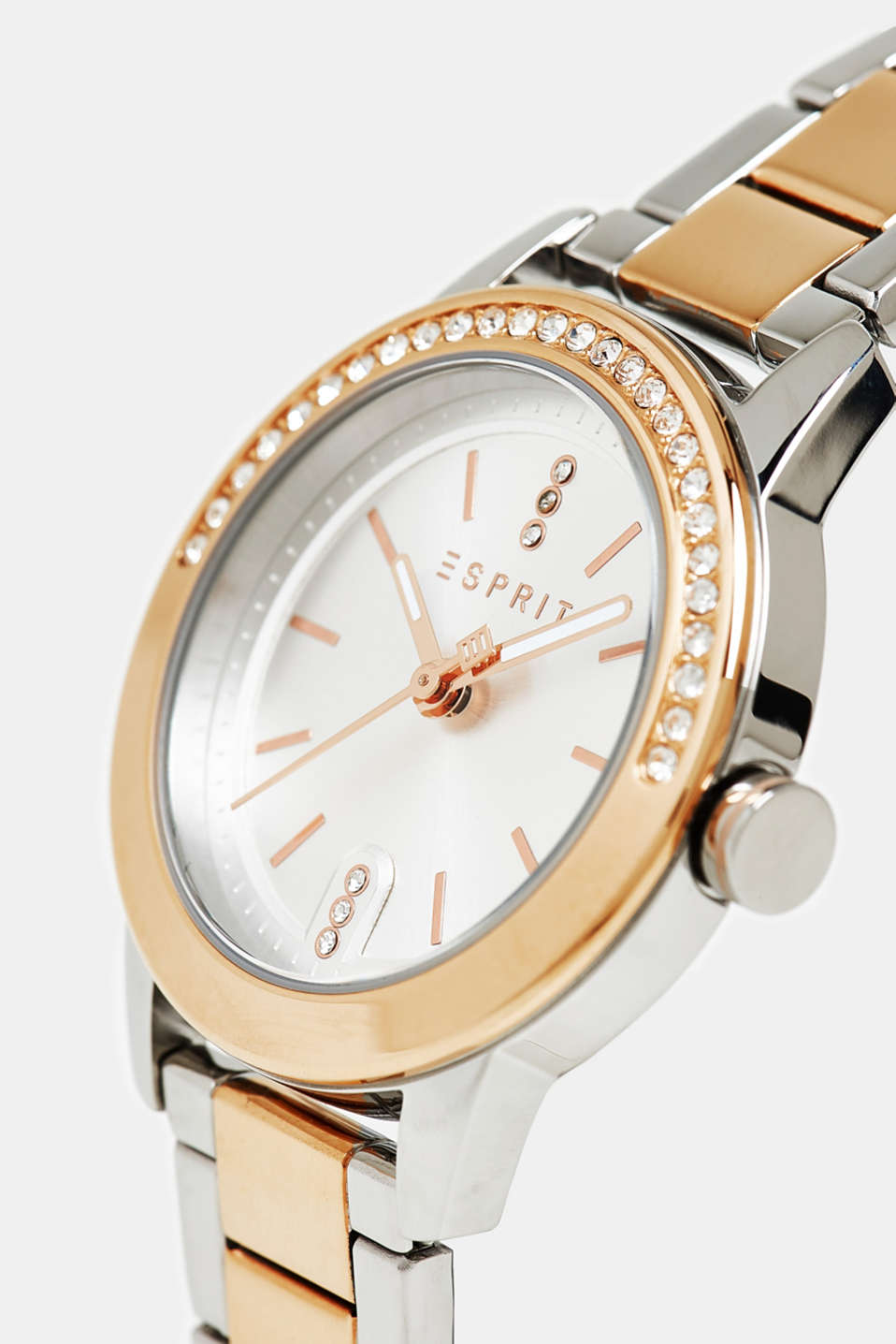 Stainless steel watch with zirconia, GOLD, detail image number 1