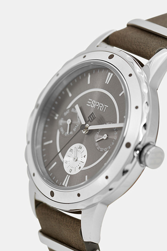 Multi-functional watch with a leather strap, GREY, detail image number 1