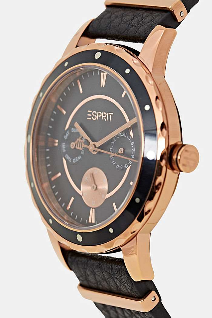Reloj multifunción con correa de piel, BLACK, detail image number 1