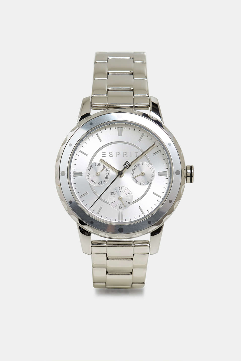 Stainless steel chronograph with a link bracelet, SILVER, detail image number 0