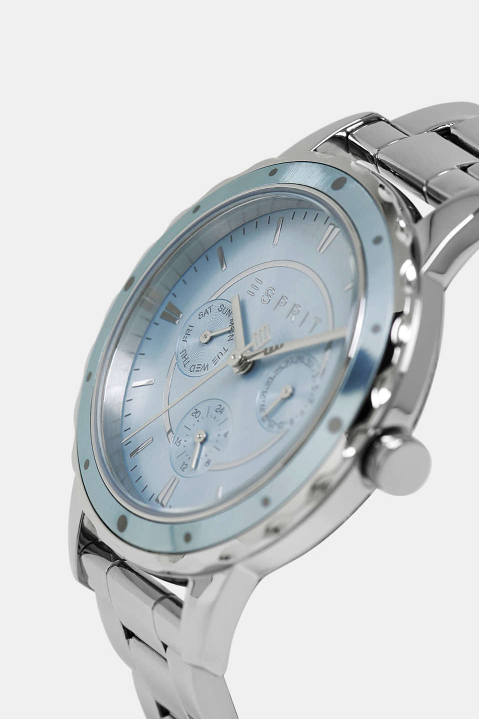 Stainless steel watch with a date display, SILVER, detail image number 1