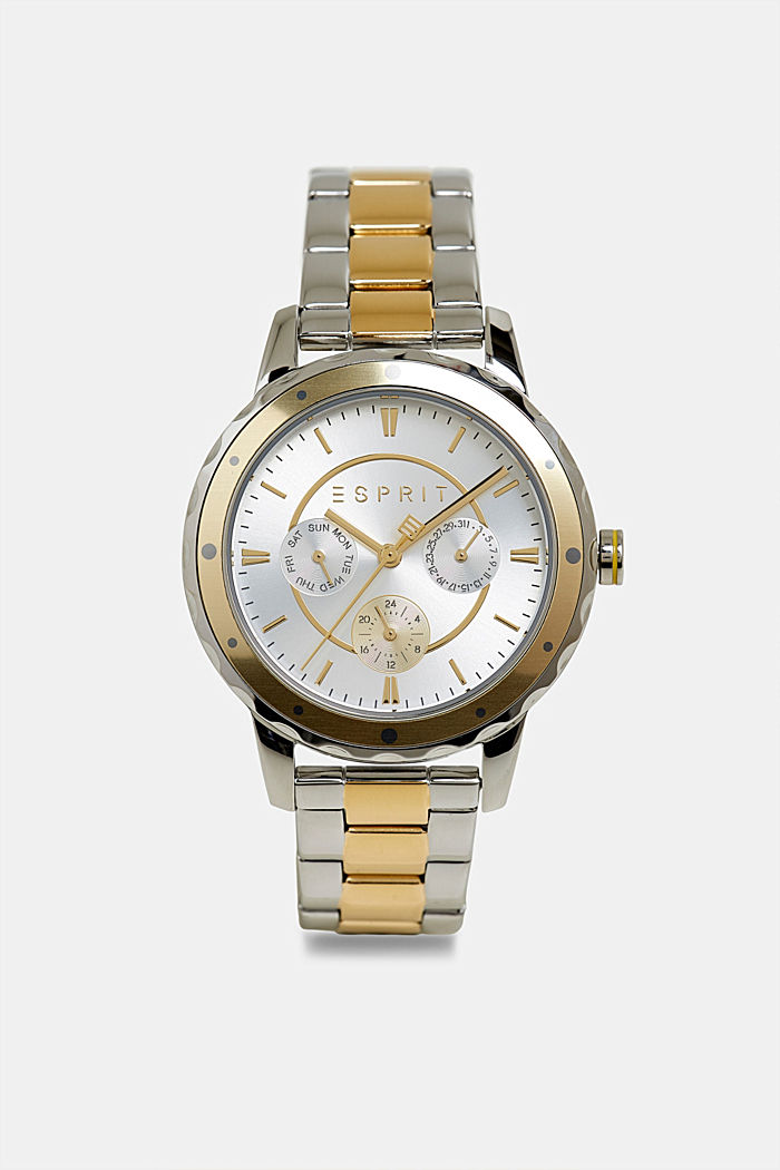 Two-tone multi-functional watch with a link strap, GOLD, detail image number 0