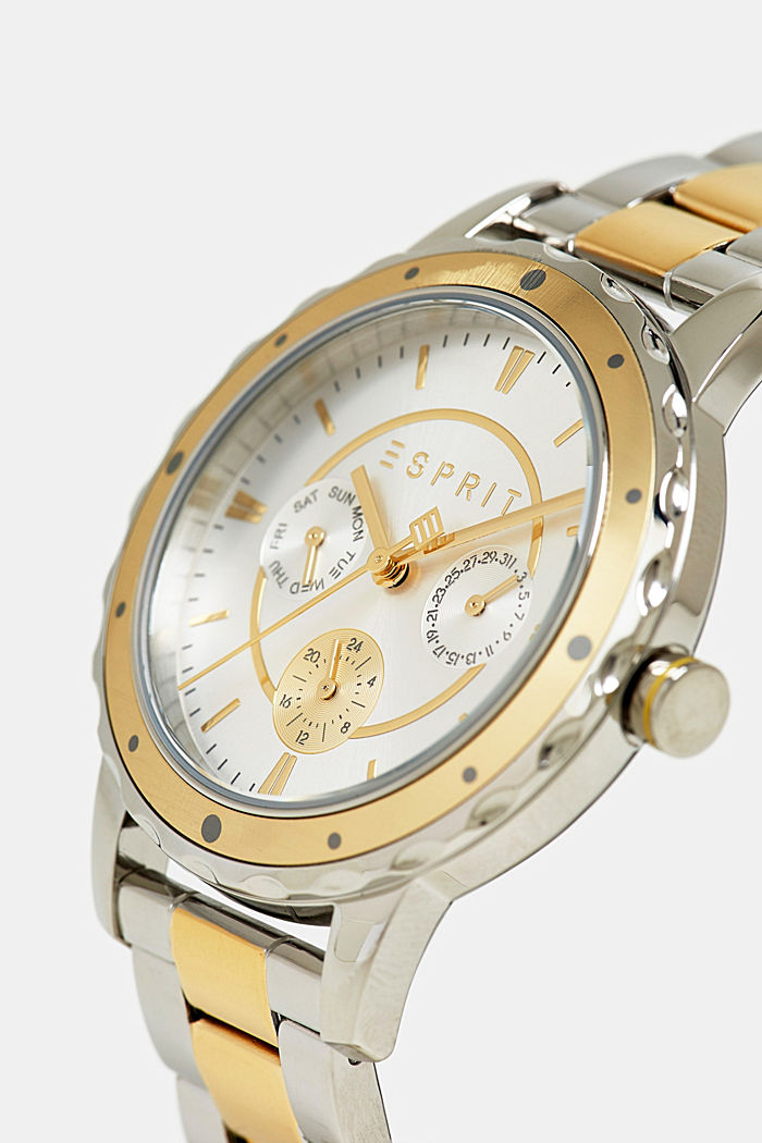 Two-tone multi-functional watch with a link strap, GOLD, detail image number 1