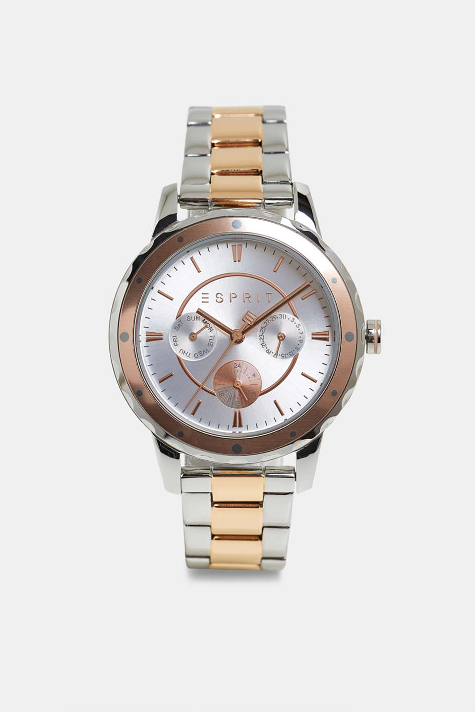 Esprit - Two-tone multi-functional watch with a link strap